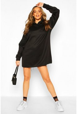 Oversized Lounge Hoodie Sweat Dress, Black, Donna