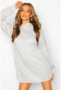 Grey marl Oversized Lounge Hoodie Sweat Dress