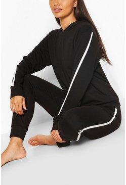 Black Side Stripe Hoodie & Jogger Lounge Set