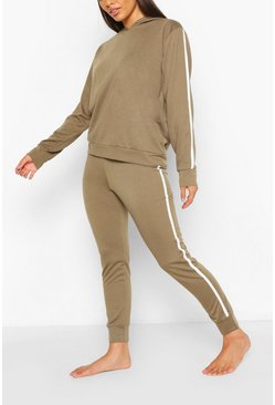 Khaki Side Stripe Hoodie & Jogger Lounge Set