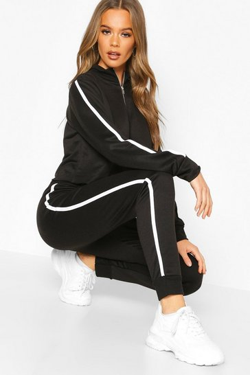 Womens Black Side Stripe Funnel Sweat & Jogger Lounge Set