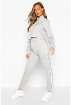 Grey marl Side Stripe Funnel Sweat & Jogger Lounge Set