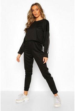 Side Stripe Sweat & Jogger Lounge Set, Black, Donna