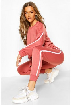 Side Stripe Sweat & Jogger Lounge Set, Rose