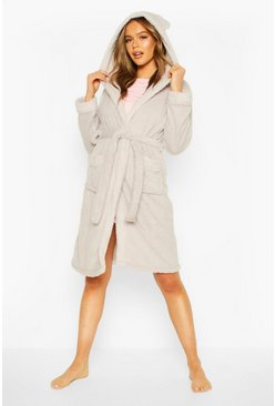 Grey Super Soft Fleece Hooded Robe