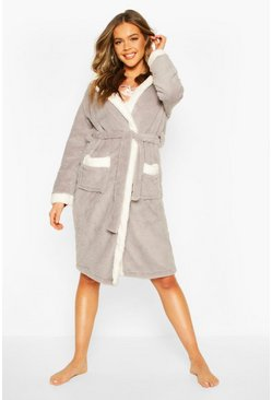 Grey Luxury Soft Fleece Longline Robe