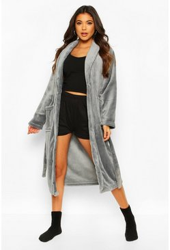 Grey Soft Fleece Robe