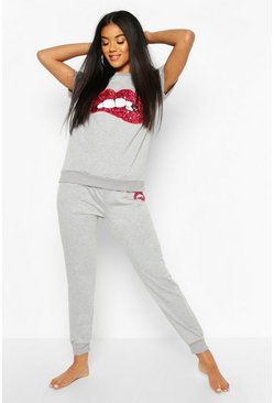 Dam Grey Sequin Lip Print Loungewear Set