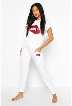 White Sequin Lip Print Loungewear Set