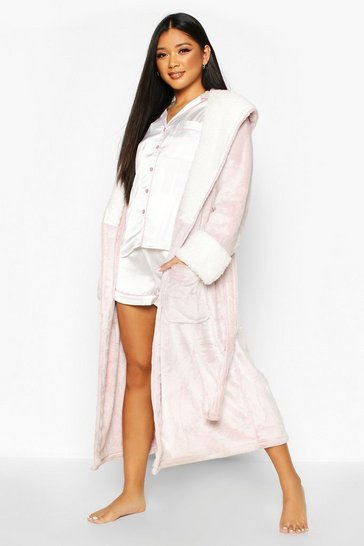 Womens Blush Borg Fluffy Shimmer Dressing Gown