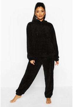 Womens Black Borg Hoodie & Jogger Lounge Set