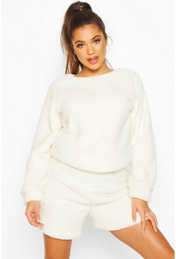 Ivory Borg Sweat & Shorts Lounge Set
