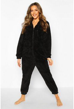 Womens Black Borg Zip Onesie