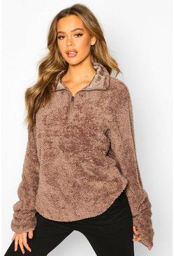 Brown Borg Funnel Crop Zip Oversized Sweat