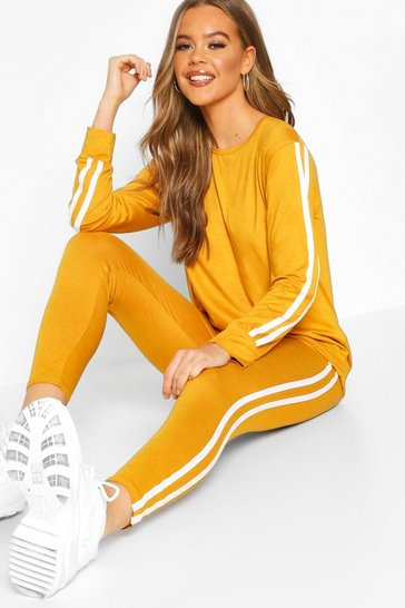 Mustard Side Stripe Long Sleeeve Lounge Set