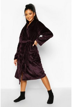 Textured Fluffy Fleece Robe, Plum, DAMEN