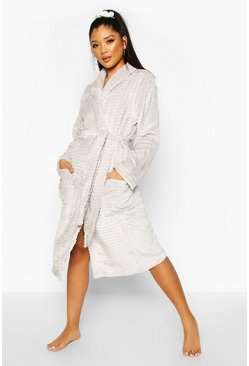 Textured Fluffy Fleece Robe, Grey, FEMMES