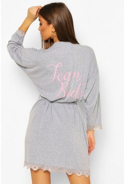 Team Bride Soft Oversized Robe, Grey marl