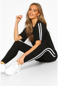 Womens Black Short Sleeved Side Stripe Set