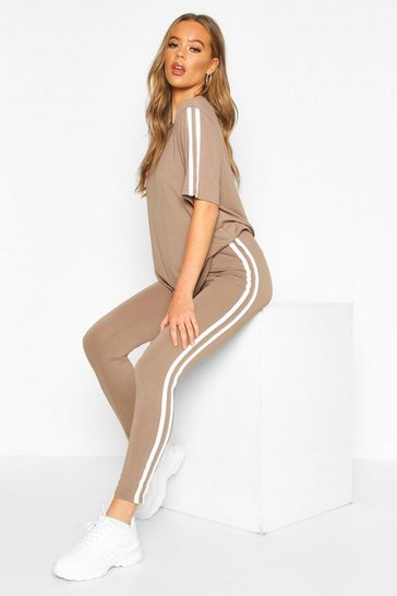Womens Mocha Short Sleeved Side Stripe Set