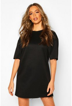 Oversized Lounge Sweat Dress, Black