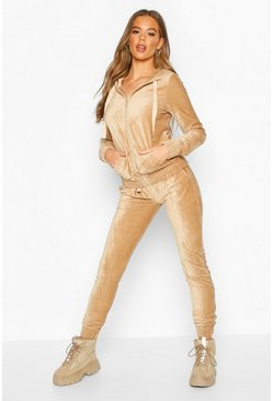 Womens Beige Cord Hooded Loungewear Set