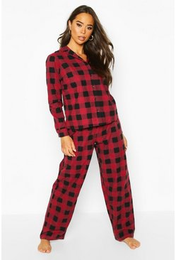 Brushed Check Button Through PJ Trouser, Berry