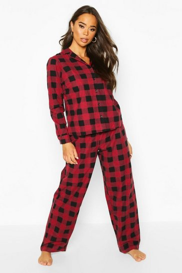 Womens Berry Brushed Check Button Through PJ Trouser