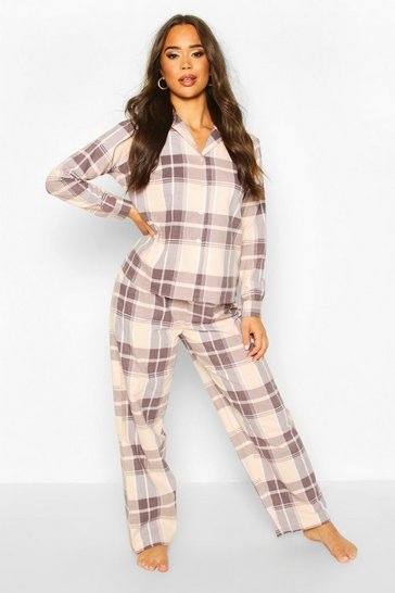 Womens Blush Brushed Check Button Through PJ Trouser Set