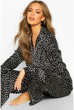 Satin Polka Dot Trouser PJ Set, Black