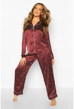 Satin Polka Dot Trouser PJ Set, Wine, DAMEN