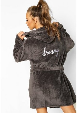 Charcoal Dreamy Embroidered Fluffy Dressing Gown