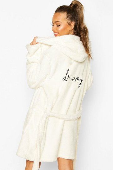 Cream Dreamy Embroidered Fluffy Dressing Gown