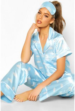 Satin 3pc Cloud Trouser Pyjama Set, Blue, DAMEN