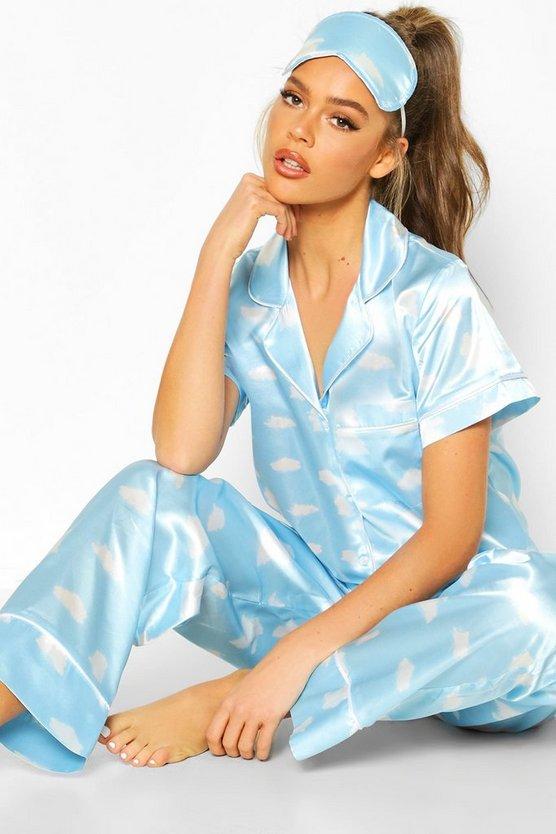 Satin 3pc Cloud Trouser Pyjama Set