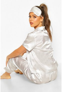 Grey Satin 3pc Cloud Trouser Pyjama Set