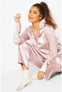 Woman Satin Trouser Pyjama Set, Rose gold