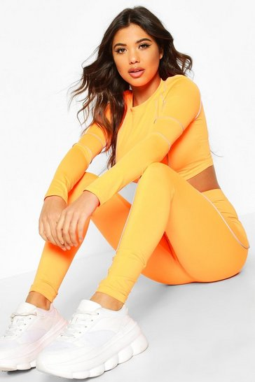 Orange Holographic Trim Legging & Top Set