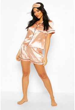 Bridesmaid 5pc Satin Pyjama Set, Rose
