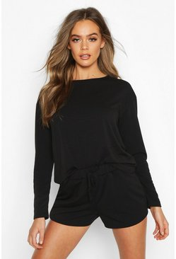 Crop & Short Sweat Pyjama Set, Black, FEMMES