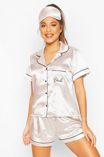 Womens Champagne Bride 5PC Satin Pyjama Set