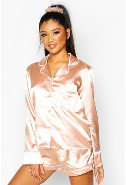 M Initial Satin 4pc Pyjama Set, Rose gold, FEMMES