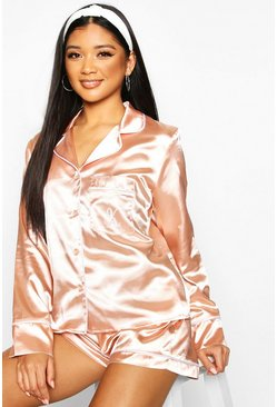 K Initial Satin 4pc Pyjama Set, Rose gold