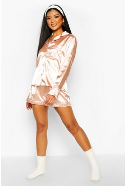 Womens Rose gold S Initial Satin 4pc Pyjama Set