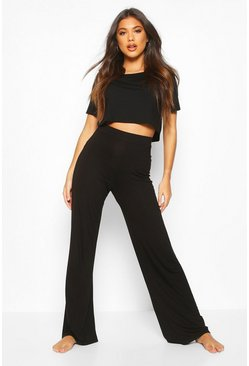 Soft Mix & Match Pyjama Wide Leg Trouser, Black, DAMEN