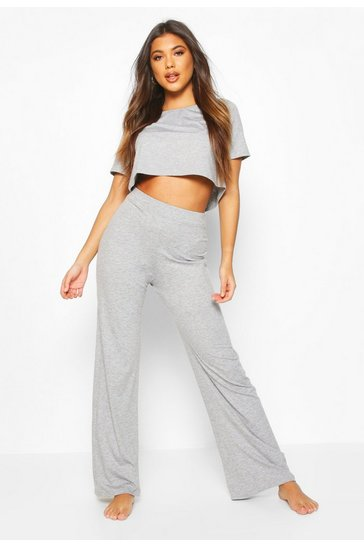 Womens Grey Soft Mix & Match Pyjama Wide Leg Trouser