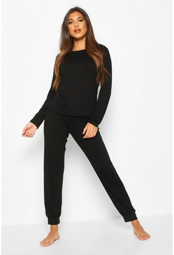 Womens Black Soft Mix & Match Pyjama Jogger