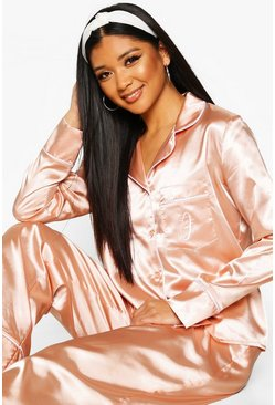 Womens Rose gold J Inital Satin 4pc Pyjama Set