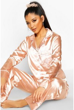 Dam Rose gold A Inital Satin 4pc Pyjama Set