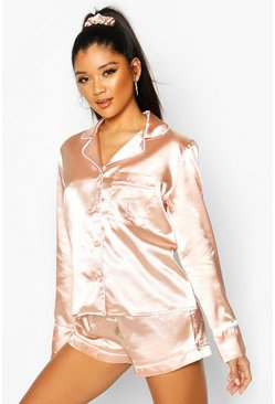 Womens Rose gold L Initial Satin 4pc Pyjama Set